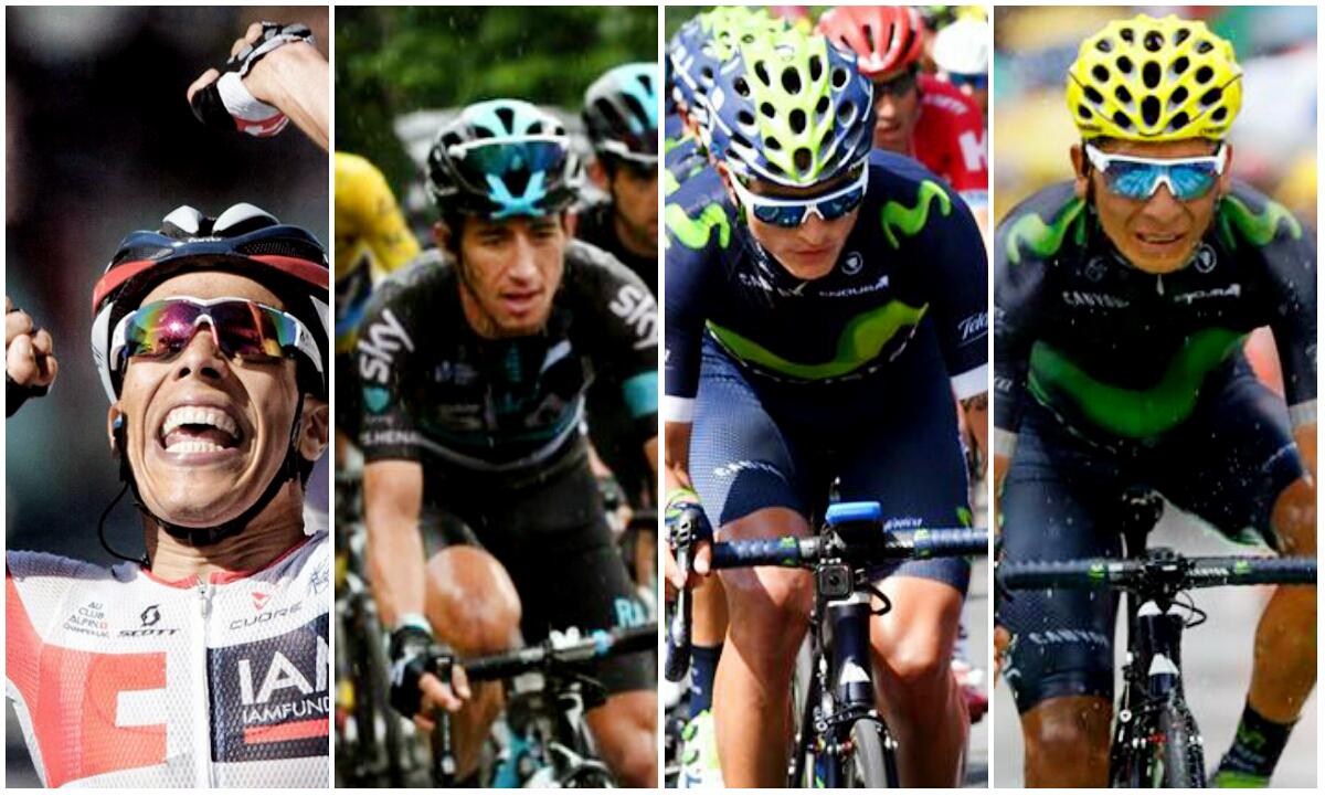 Jarlison Pantano, Sergio Luis Henao, Winner Anacona y Nairo Quintana / Fotos  redes sociales Movistar Team, IAM Cycling y Team Sky.