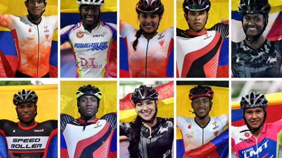 Selección Colombia de Patinaje de Carreras con sello vallecaucano
