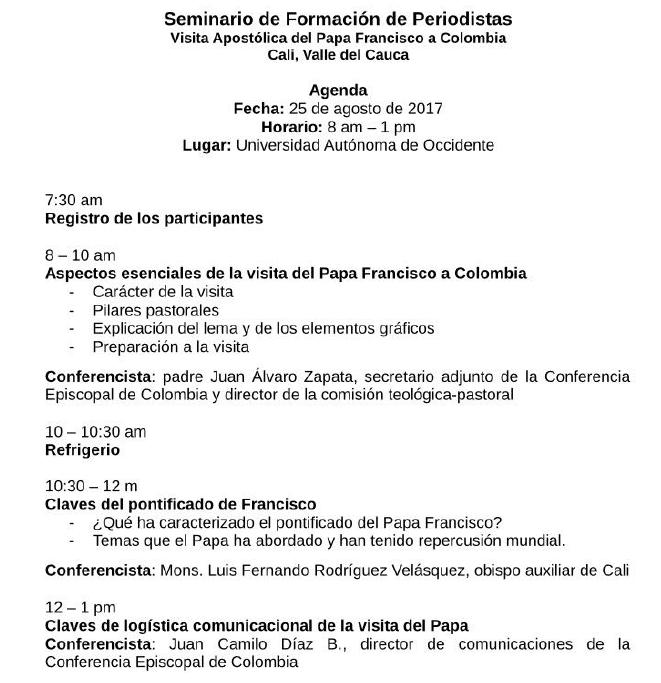 Seminario de formación de periodistas: Visita del Papa Francisco