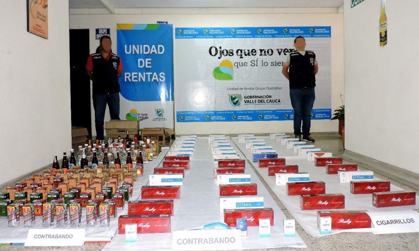 Decomisan licor ilegal y cigarrillos de contrabando en norte del Valle