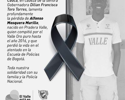 Gobernadora lamentó el fallecimiento en atentado terrorista en Bogotá de Alfonso Mosquera Murillo, ex deportista Valle Oro Puro
