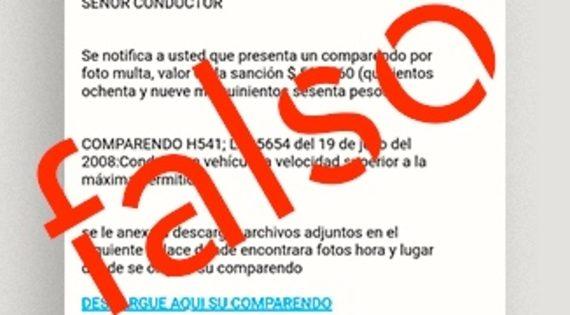 Secretaría de Movilidad de Cali advierte sobre falsas notificaciones de multas de tránsito enviadas a través de correos electrónicos
