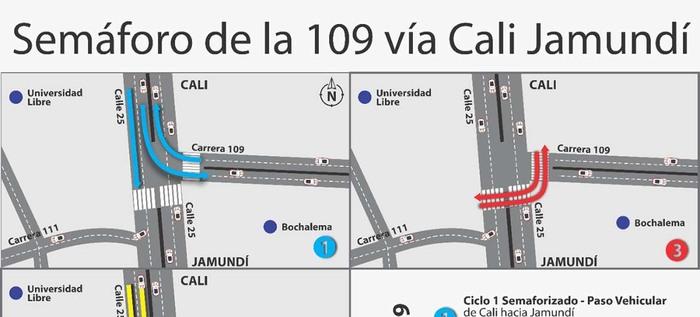 Habilitado paso semaforizado en la Cali-Jamundí a la altura de la entrada a Bochalema