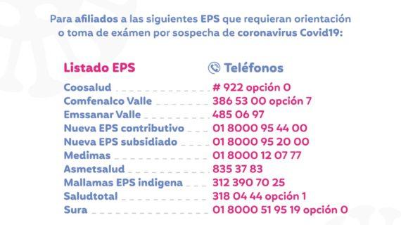 EPS atenderán telefónicamente casos sospechosos de coronavirus