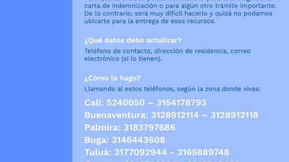 La Unidad en el Valle del Cauca invita a las víctimas a que actualicen sus datos