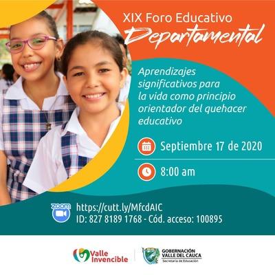 Este jueves 17 de septiembre serán seleccionadas las experiencias que representarán al Valle del Cauca en el XIX Foro Educativo